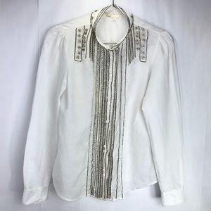 floret embellished long sleeve button up top